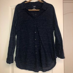 WORN ONCE Navy Polka dot Button Up